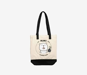 Canvas Shoulder Bag with Cartoon Pattern, Black Combo