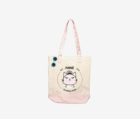 Canvas Shoulder Bag with Cartoon Pattern, Pink Combo