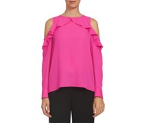 Cece Women's Women's Ruffle Cold Shoulder Blouse, Pink