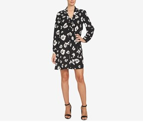 CeCe Women's Printed Tie-Neck Shift Dress, Black
