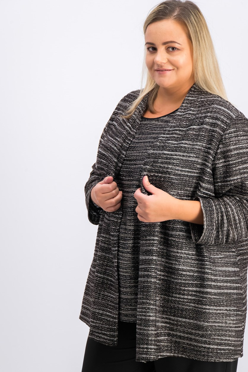 Plus Size Open-Front Cardigan, Black Combo