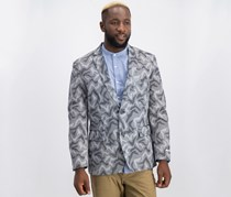 Men's Slim-Fit Camo Jacquard Blazer, Black Combo