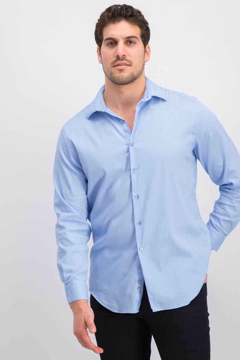 Men's Athletic Fit Performance Stretch Step Twill Textured Dress Shirt, Blue