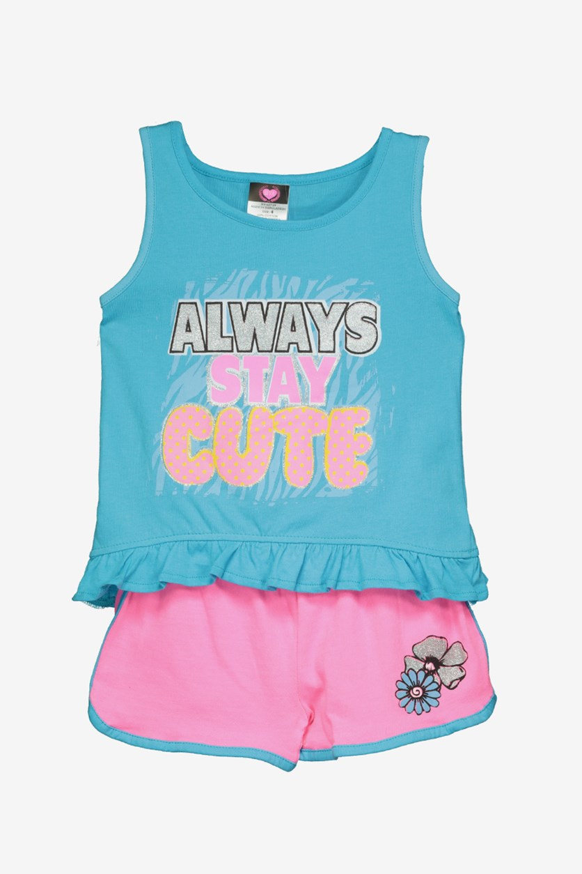 Girls Graphic Top & Short Set, Blue/Pink