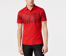 INC Mens Gel-Striped Polo, Licorice Red