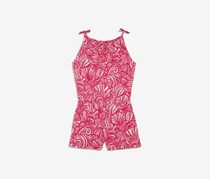 Girls' Nautilus Shell-Print Knit Romper, Sweet Taffy