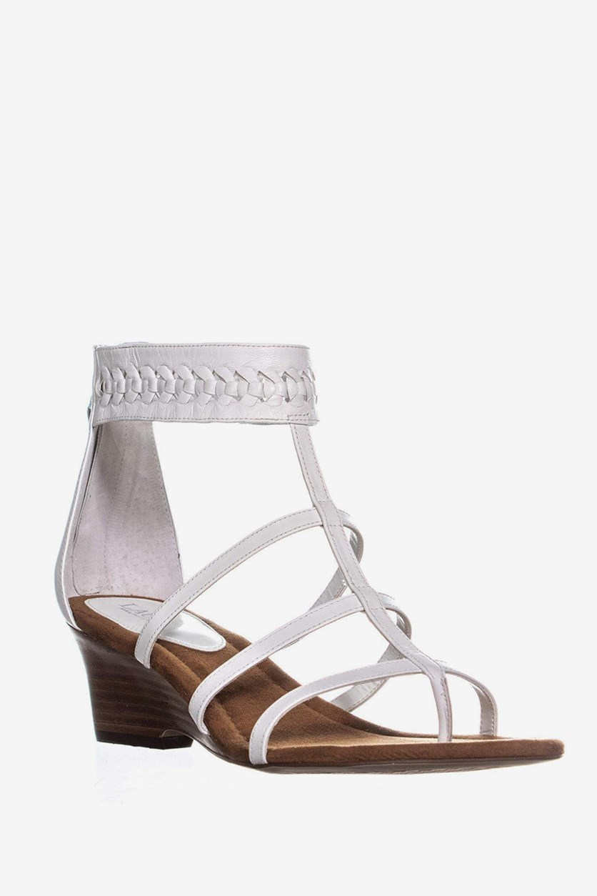 Meira Wedge Gladiator Sandals, White