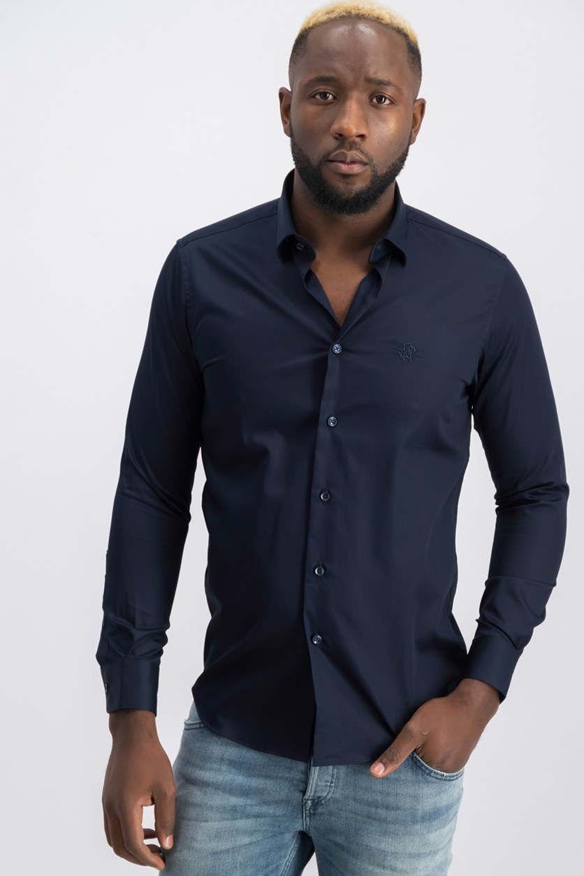 Men's Camicia  Slim Fit Button Down Dress Shirt, Navy