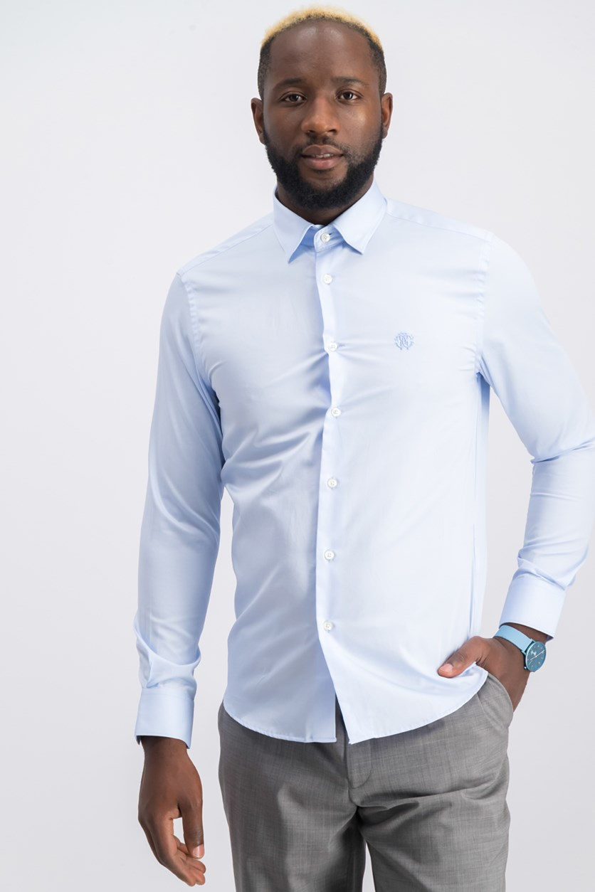 Men's Long Sleeve Full Button Dress Shirt, Sky Blue