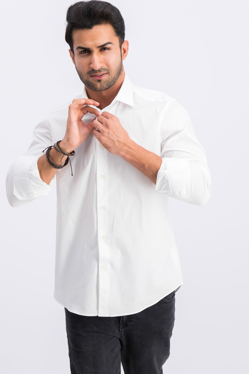 Camicia Comfort Fit Button Down Dress Shirt, White