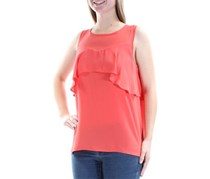 1.State Women's Chiffon Ruffled Blouse, Poppy Petal