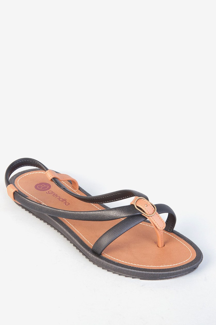 Slip-On Sandals, Black/Brown