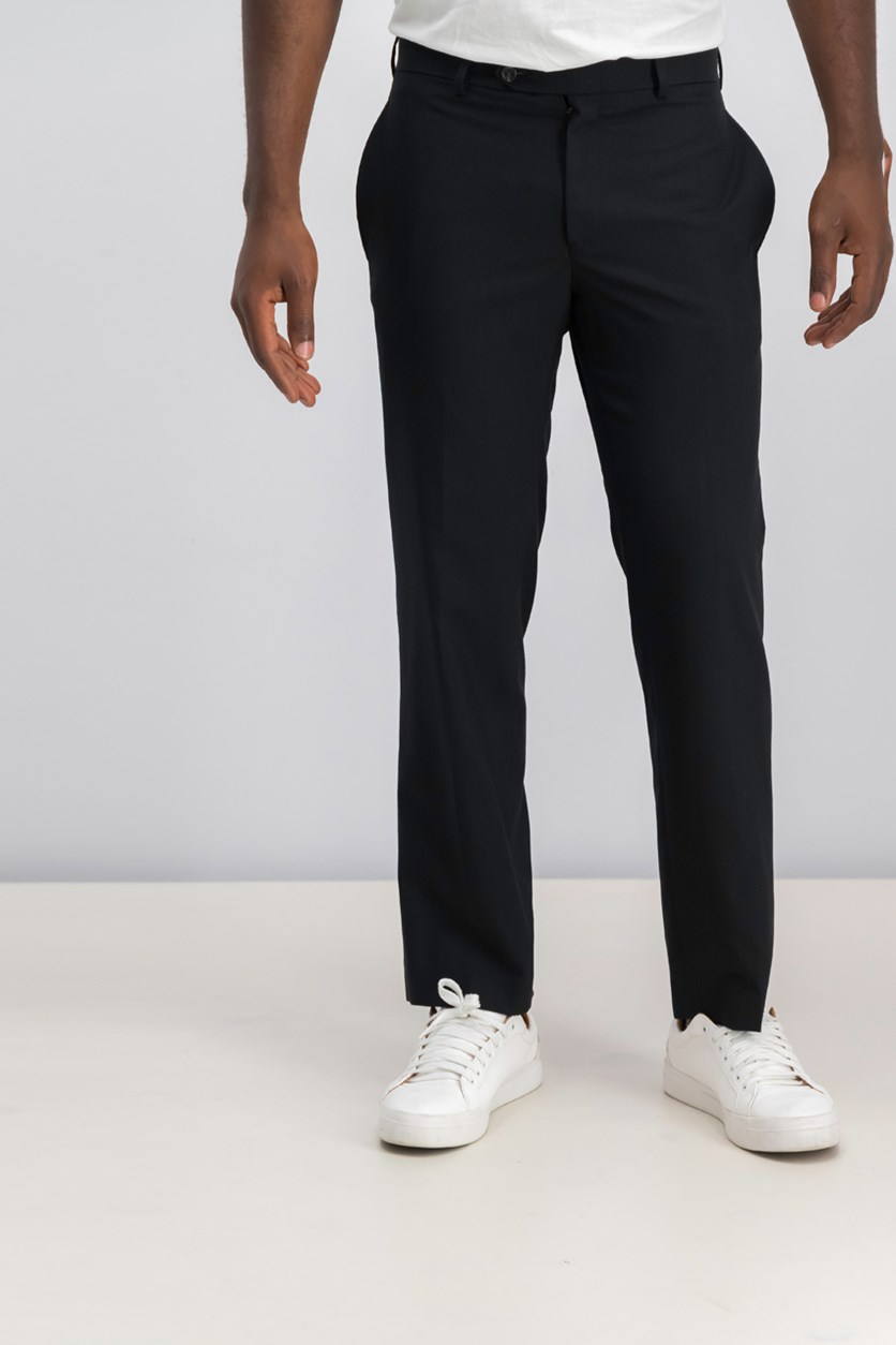 Classic Fit Flat-Front Trouser Pants, Black