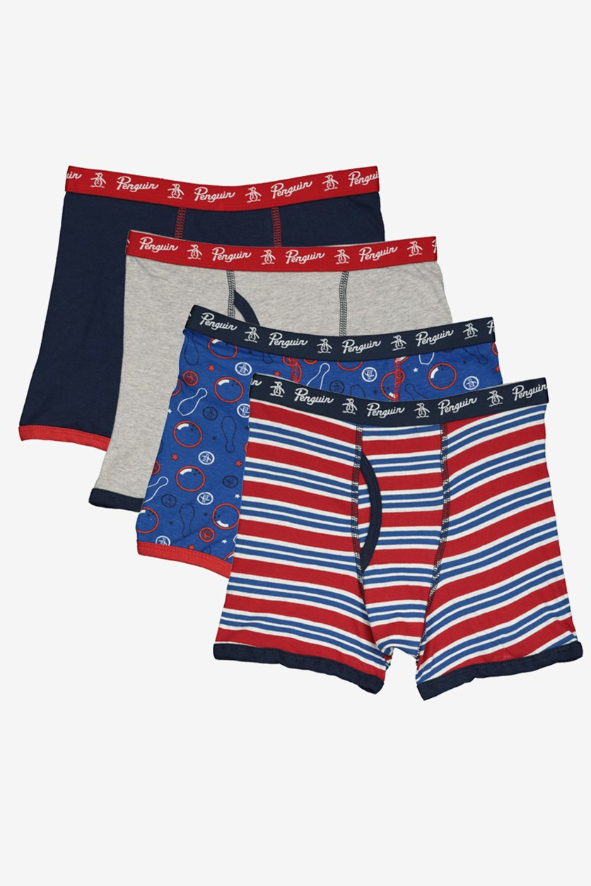 Kids 4 Boxer Briefs, Blue/Red/Grey