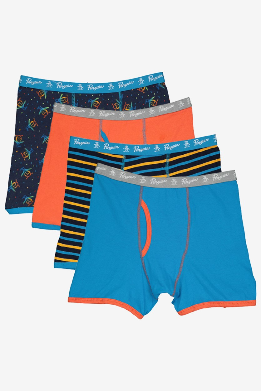 4pk Boxer Briefs, Navy/Orange Combo