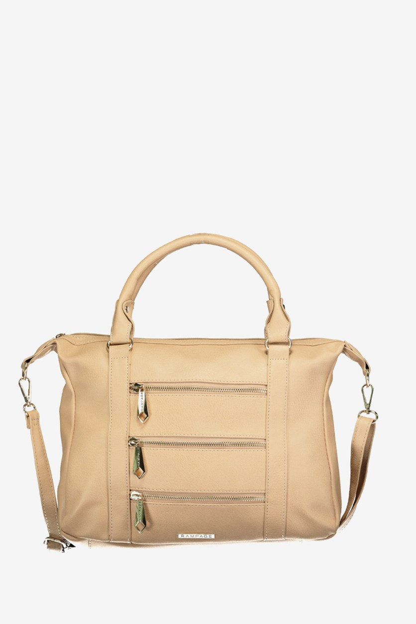 Women's Tripple Zippered Satchel Bag, Almond