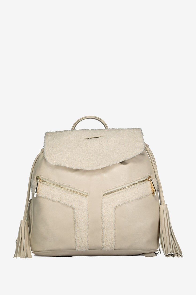 Women's Drawstring Fringe Backpack, Birch