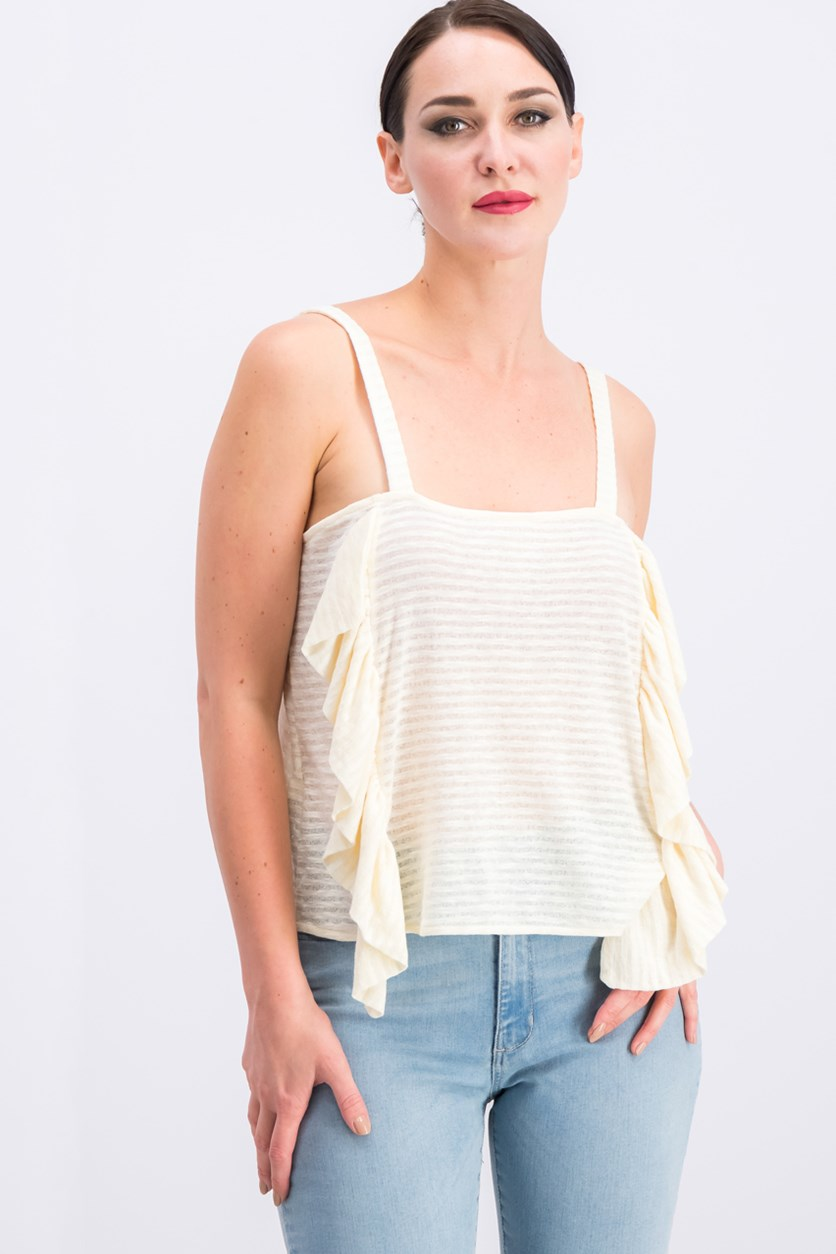 Women Stripe-Ruffled Top, Ivory