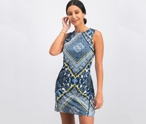 Mango Women's Allover Printed Dress, Blue Combo