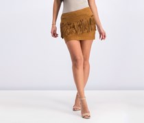 Mango Women's Fringe Suede Skirt, Brown