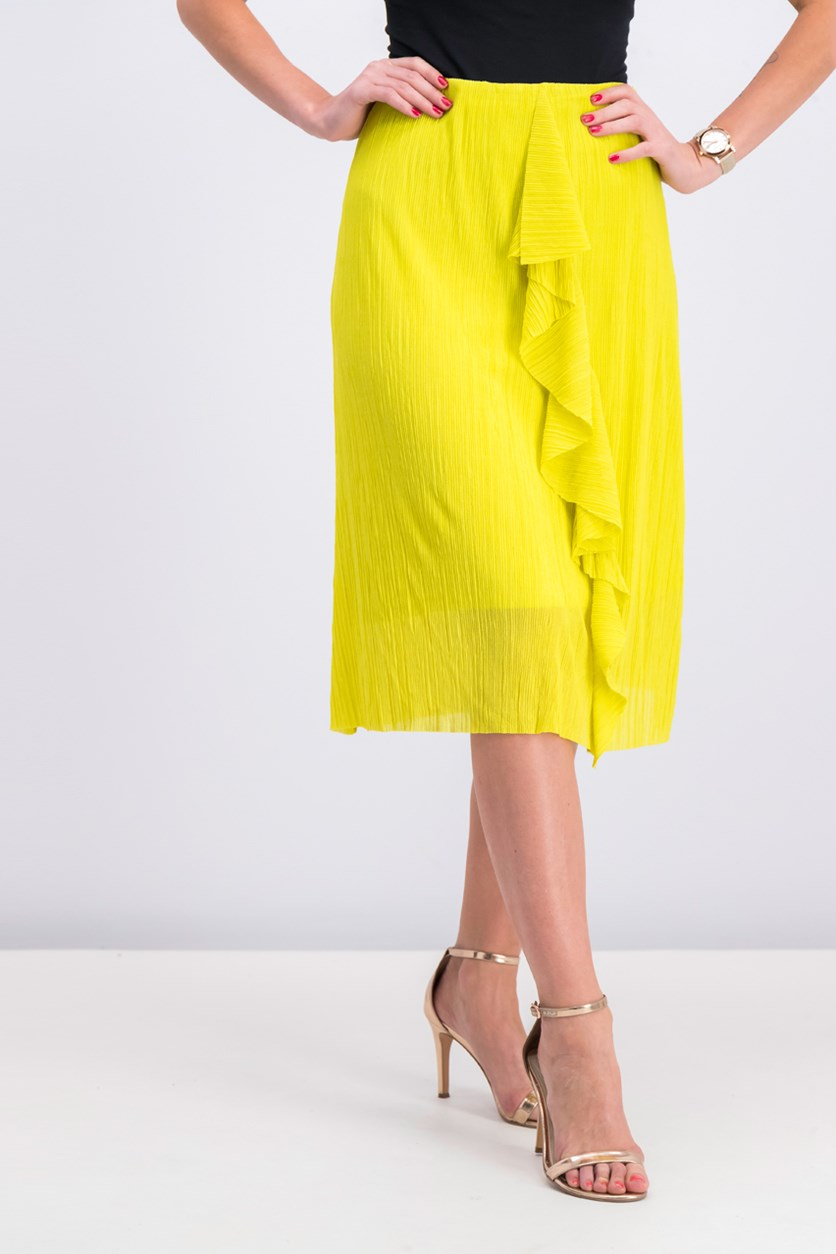 Women's Ruffle Skirt, Yellow Green
