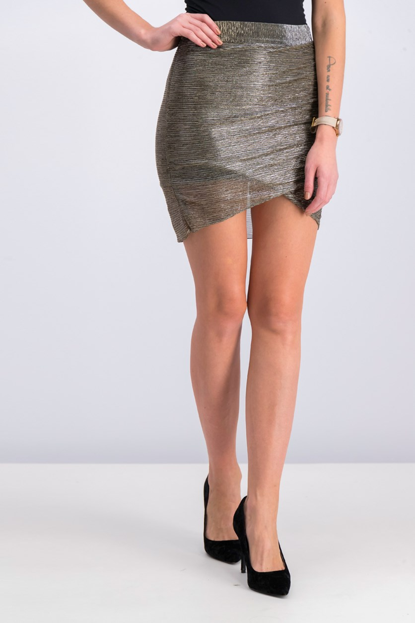 Women's Metallic Detail Skirt, Silver/Black