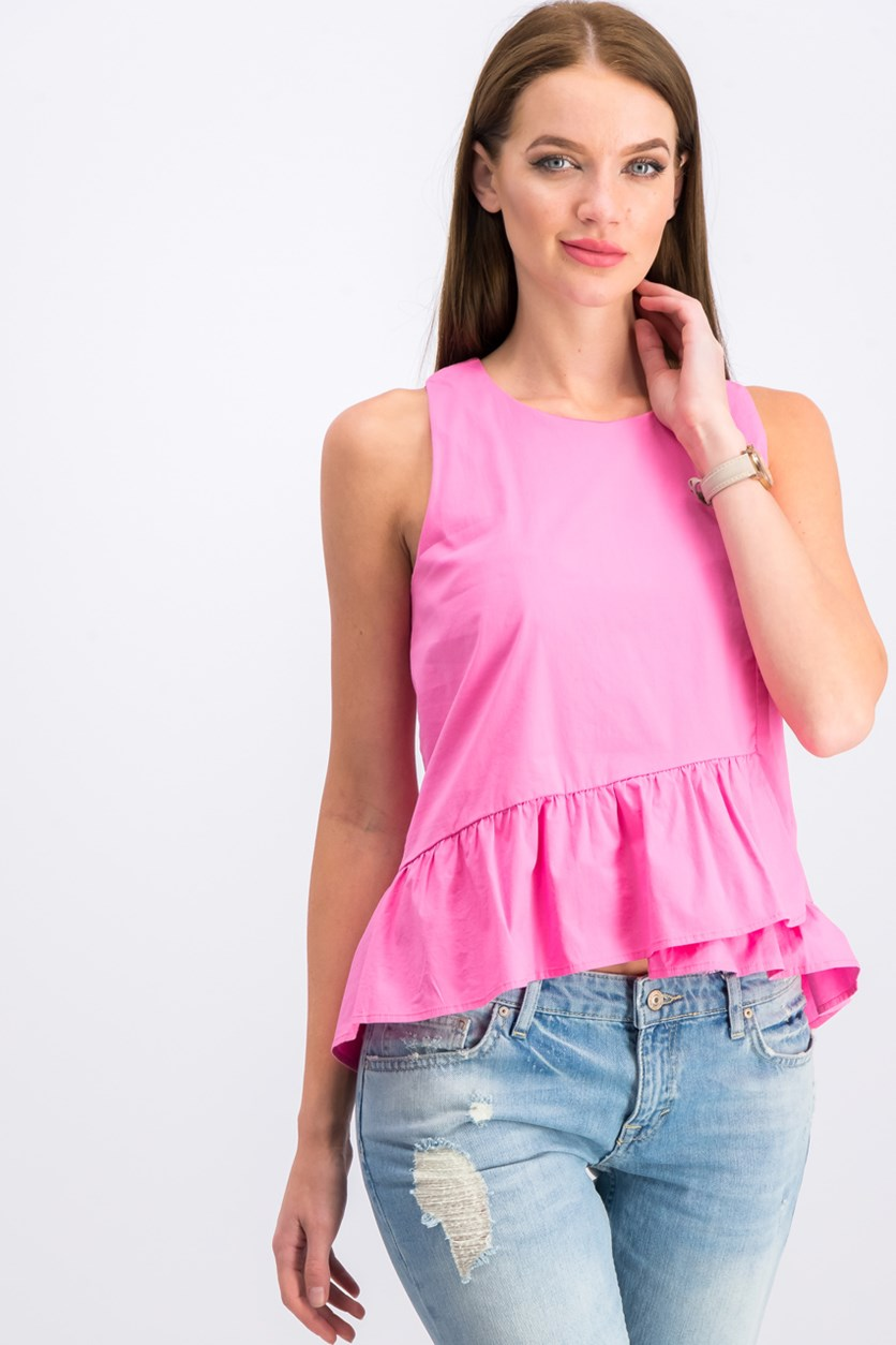 Women's Ruffled Hem Top, Pink