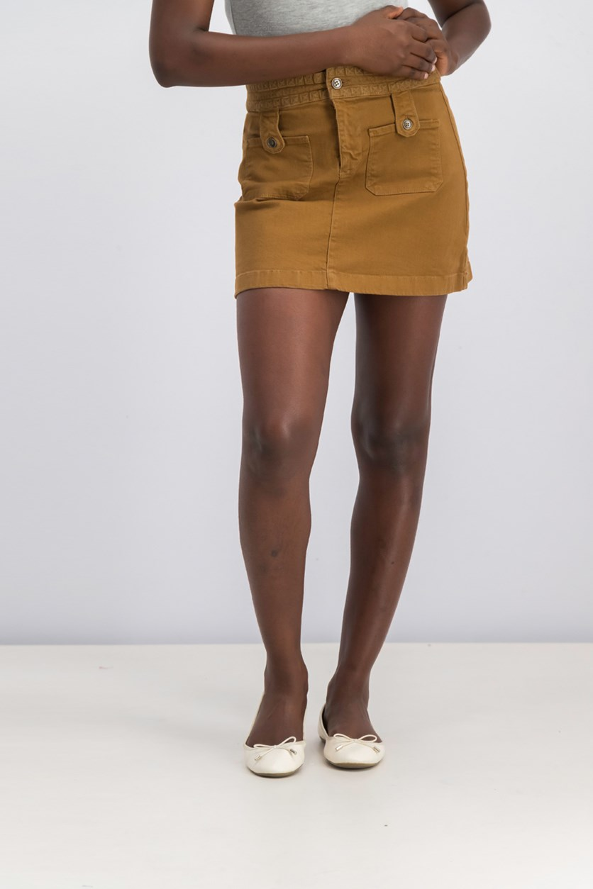 Women's Pocket Cotton Blend Skirt, Brown