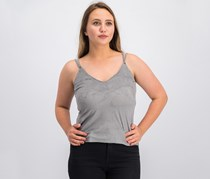 Mango Women's Textured Sleeveless Top, Grey