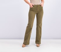 Mango Women's Button Fly Jeans, Olive
