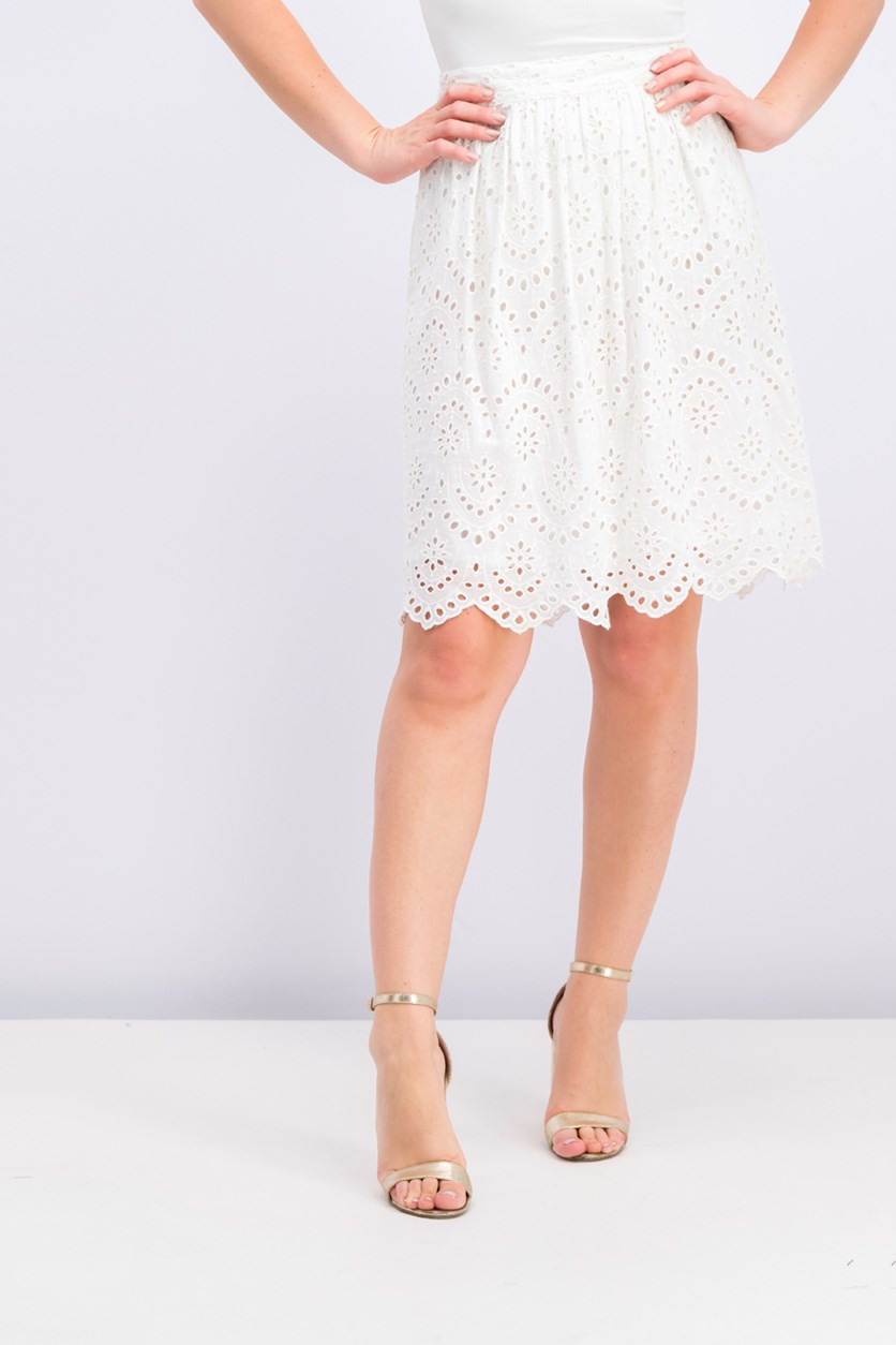 Women's Embroidered Skirt, White