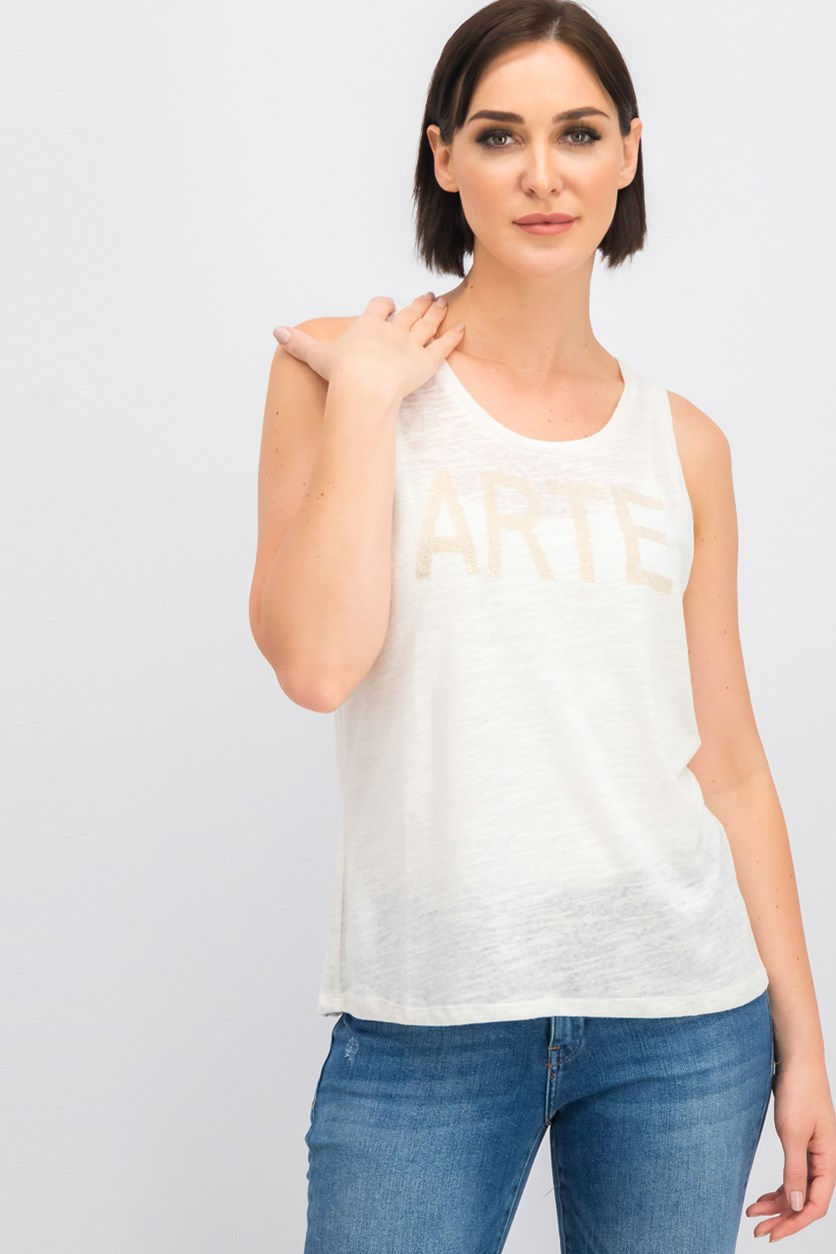 Women Embellished Tank Top, Ecru