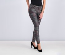 Mango Women's Printed Jeans, Washed Black Combo