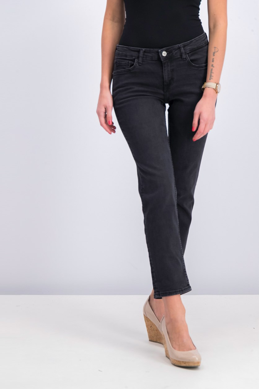 Women's Straight Jeans, Black Wash
