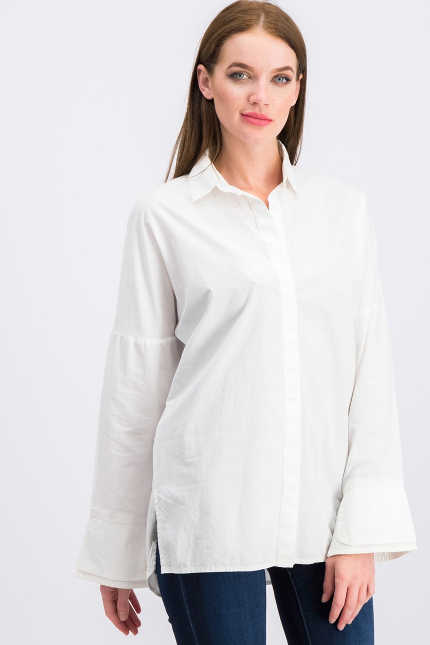 Women's Long Sleeves Polo, Cream