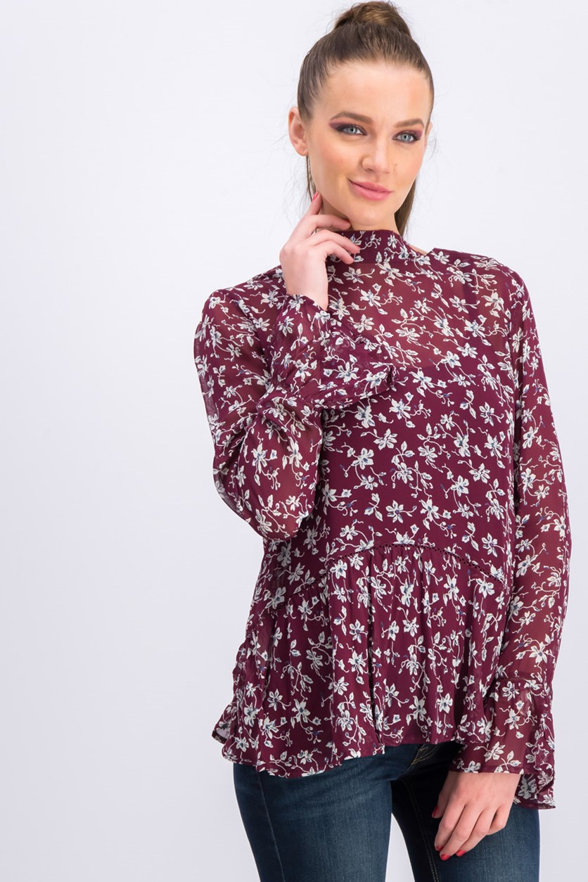 Fluted Hem Blouse, Burgundy