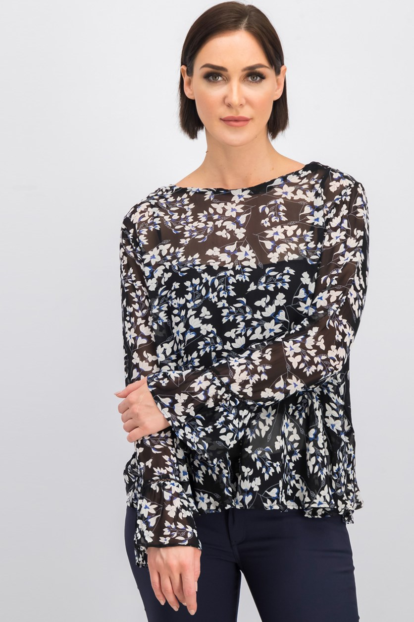 Women's Floral Lace Tops, Black Combo