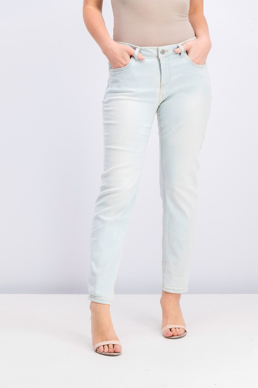 Women's Five Pocket Wash Jeans, Wash Light Blue