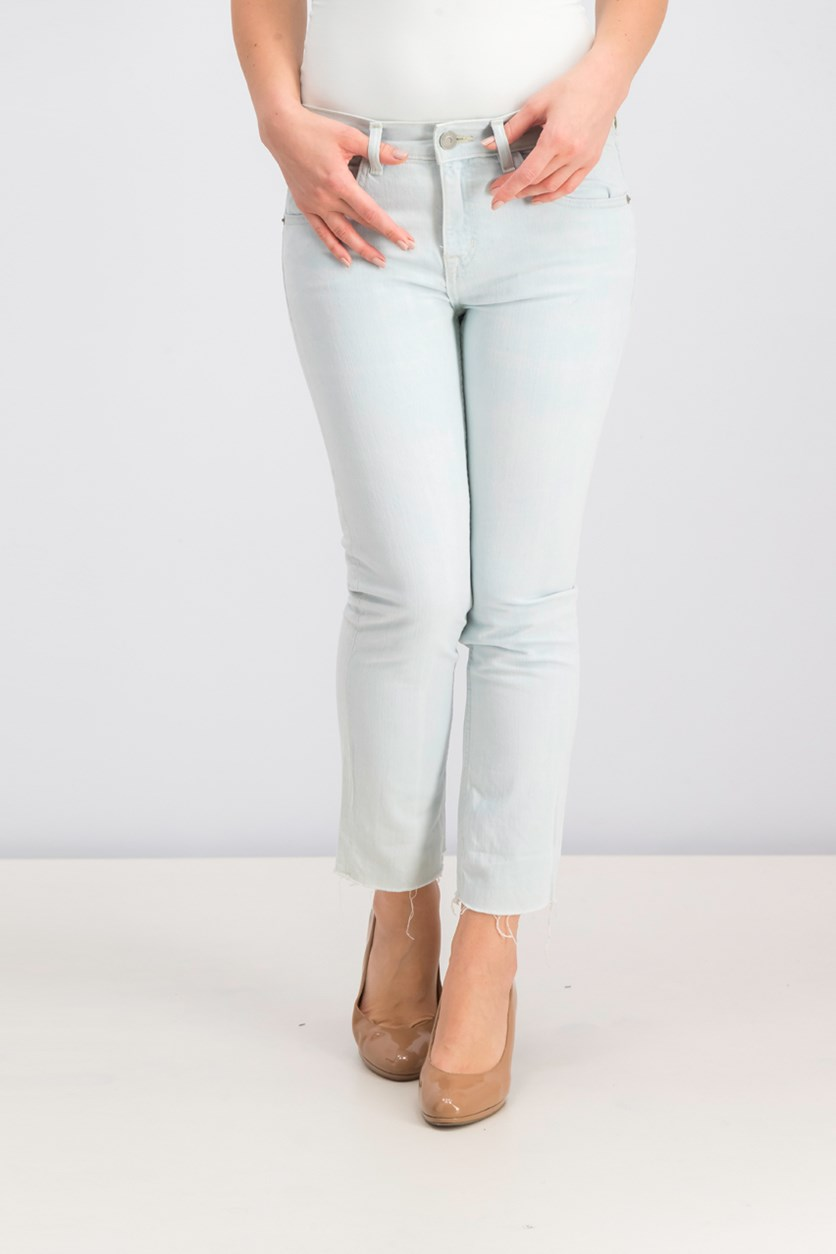 Women Frayed Jeans, Washed Pale Blue