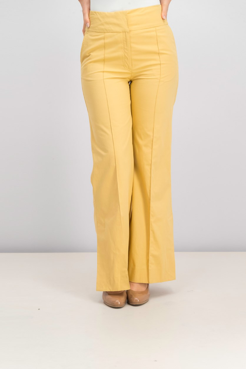 Women Slit Hem Trousers, Ochre