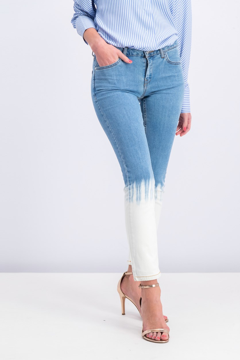 Women's Straight Jeans, Blue/Ivory