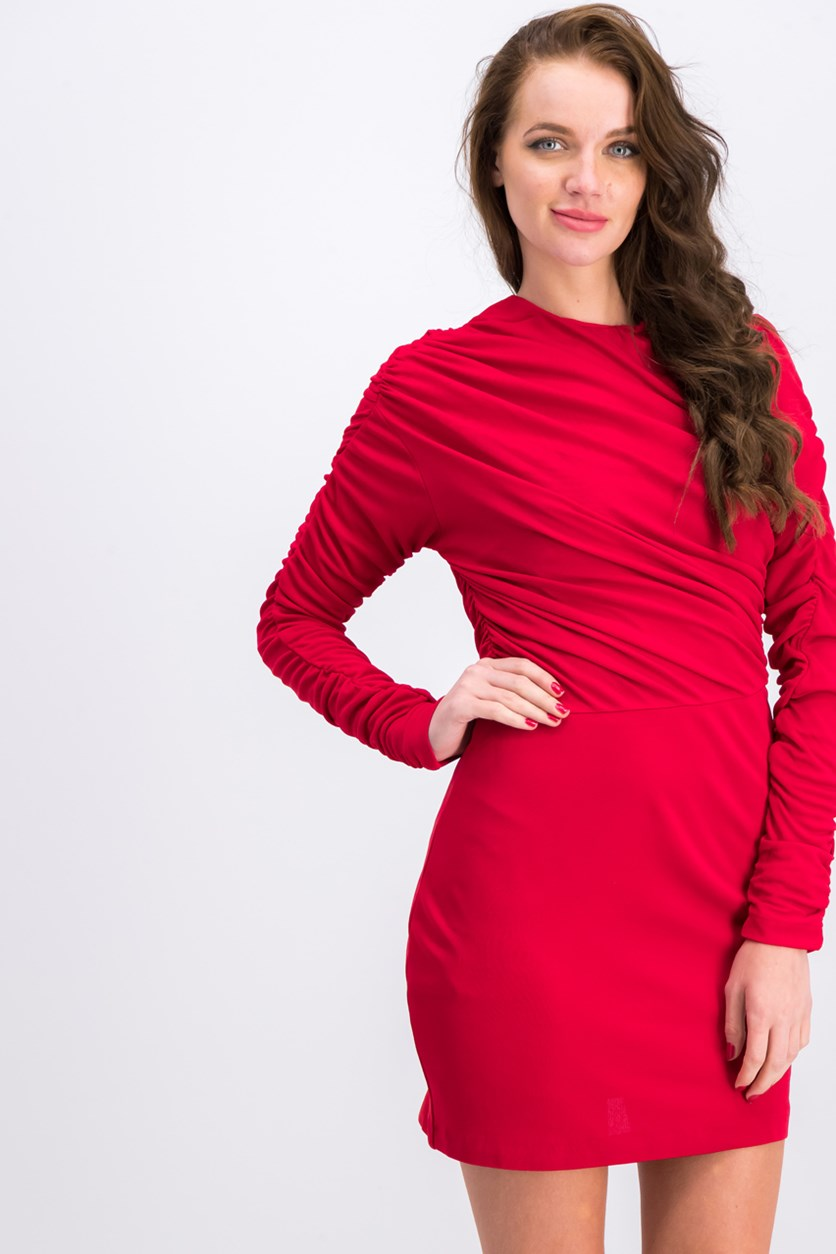 Women Apparel Wrapped Acetate Gown, Red