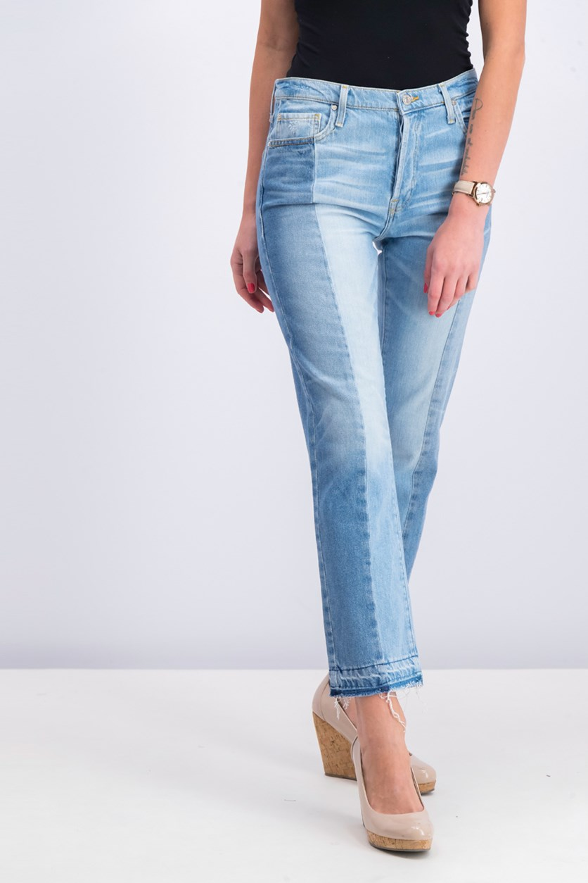Women's Distressed Hem Jeans, Wash Blue