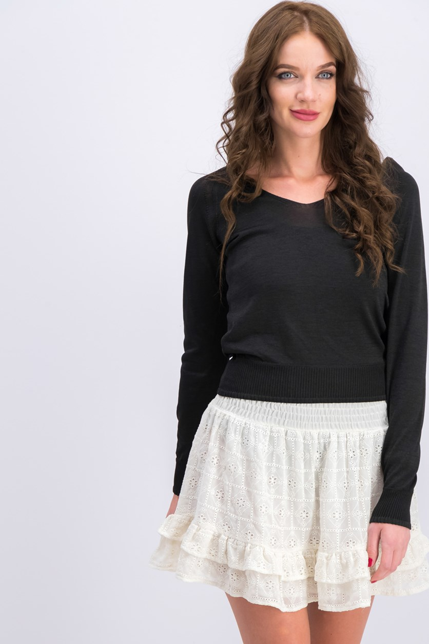 Fine Knit Top, Black