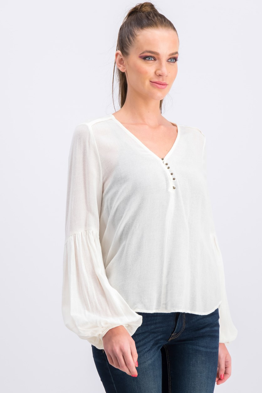 Women's Plaid Top, Ivory