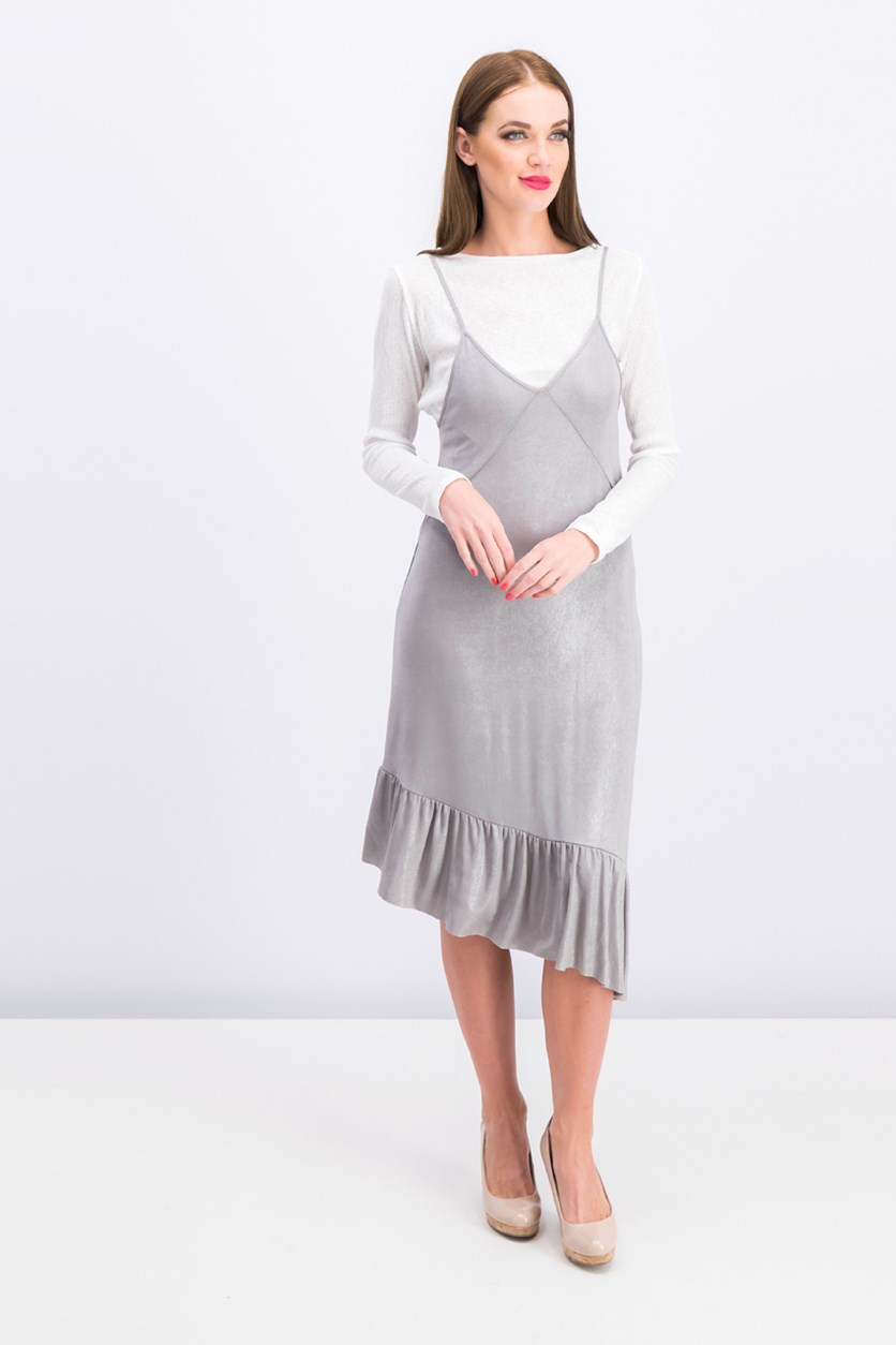 Women's Mettalic Dress, Gray/White