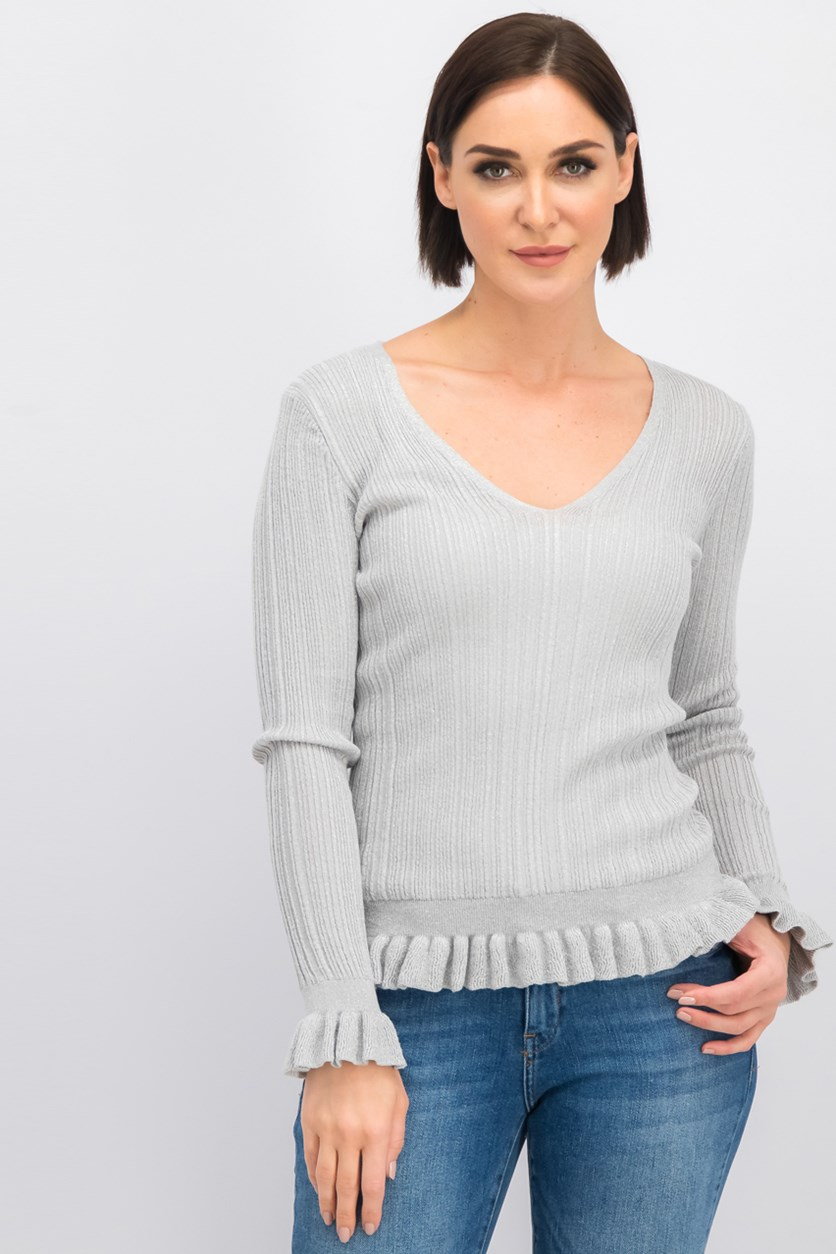 Women's Ruffle Sweater, Gray/Silver Metallic