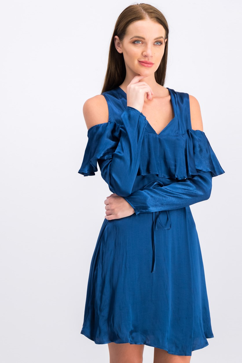 Women V Neck Dress, Blue