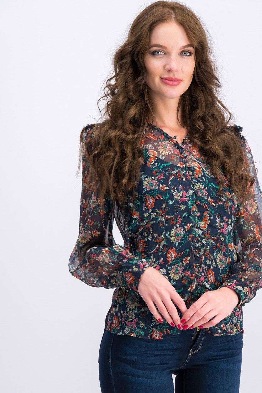 Floral Printed Blouse, Navy Combo