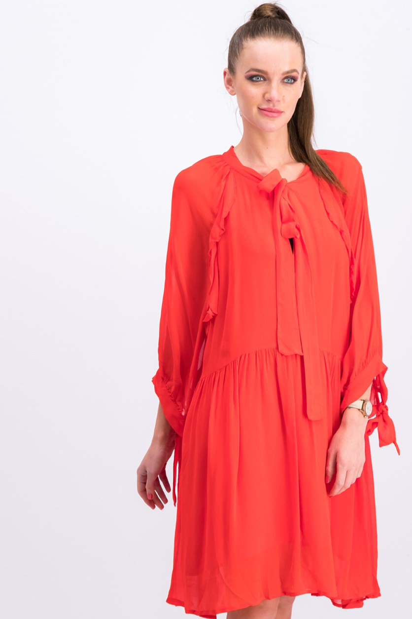 Women Flowy Ruffled Dress, Red